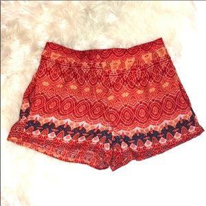 Angie Shorts Orange Navy Pattern Pockets Small
